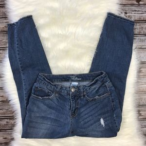 Time and Tru Cropped Distressed Boyfriend Jeans